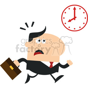 8271 Royalty Free RF Clipart Illustration Hurried Manager Running Past A Clock Modern Flat Design Vector Illustration photo. Commercial use photo # 396021