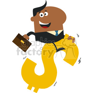 8289 Royalty Free RF Clipart Illustration Happy African American Manager Riding On A Hopping Dollar Symbol Flat Design Style Vector Illustration clipart. Commercial use image # 396050
