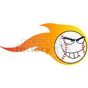 Flaming Angry Baseball Ball Cartoon Character clipart. Royalty-free image # 396060