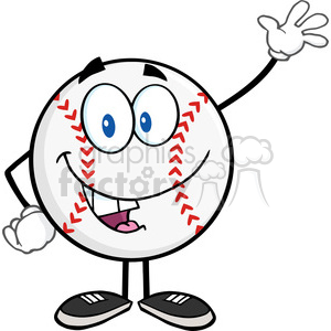 Baseball Ball Cartoon Mascot Character Waving For Greeting clipart. Royalty-free image # 396080