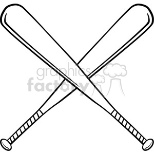 Black and White Crossed Baseball Bats clipart. Royalty-free image # 396090