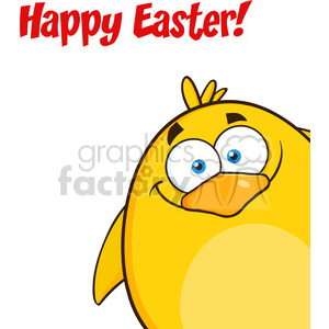 8591 Royalty Free RF Clipart Illustration Happy Easter With Smiling Yellow Chick Cartoon Character Looking From A Corner Vector Illustration Isolated On White clipart. Royalty-free image # 396120