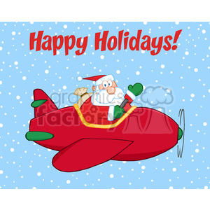 8204 Royalty Free RF Clipart Illustration Happy Holidays Greeting With Santa Claus Flying A Plane And Waving clipart. Royalty-free image # 396130