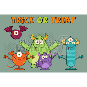 8940 Royalty Free RF Clipart Illustration Happy Funny Monsters Cartoon Characters Vector Illustration Greeting Card