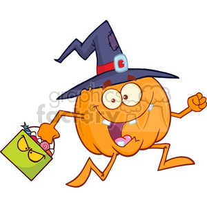 8898 Royalty Free RF Clipart Illustration Funny Witch Pumpkin Cartoon Character Running With A Halloween Candy Basket Vector Illustration Isolated On White