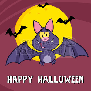 8948 Royalty Free RF Clipart Illustration Happy Vampire Bat Cartoon Character Flying Vector Illustration Greeting Card clipart. Commercial use image # 396210