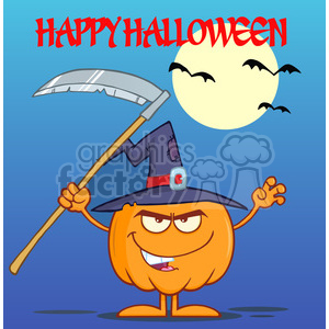 Royalty Free RF Clipart Illustration Scaring Halloween Pumpkin With A Witch Hat And Scythe Greeting Card clipart. Commercial use image # 396220
