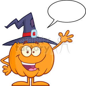 8890 Royalty Free RF Clipart Illustration Happy Witch Pumpkin Cartoon Character Waving With Speech Bubble Vector Illustration Isolated On White