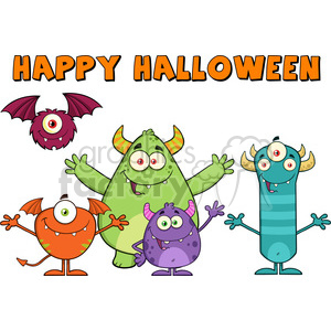 8938 Royalty Free RF Clipart Illustration Happy Funny Monsters Cartoon Characters With Happy Halloween Text Vector Illustration Isolated On White