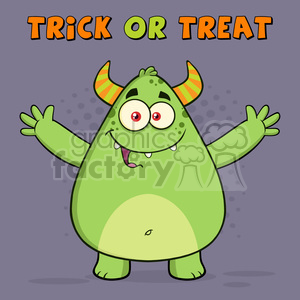 8932 Royalty Free RF Clipart Illustration Happy Horned Green Monster Cartoon Character With Welcoming Open Arms Vector Illustration Greeting Card