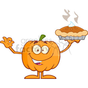Royalty Free RF Clipart Illustration Happy Halloween Pumpkin Mascot Character Holding Perfect Pie clipart. Royalty-free image # 396260