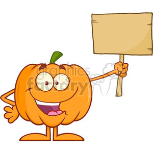 Royalty Free RF Clipart Illustration Funny Halloween Pumpkin Cartoon Mascot Character Holding A Wooden Board clipart. Royalty-free image # 396280