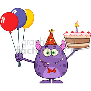 8913 Royalty Free RF Clipart Illustration Funny Monster Holding Up A Birthday Cake Vector Illustration Isolated On White