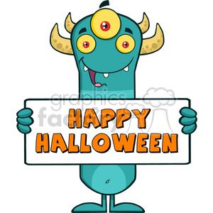8928 Royalty Free RF Clipart Illustration Happy Horned Blue Monster Cartoon Character Holding Happy Halloween Sign Vector Illustration Isolated On White clipart. Royalty-free image # 396300