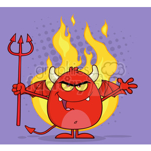 8964 Royalty Free RF Clipart Illustration Evil Red Devil Cartoon Character Character Holding A Pitchfork Over Flames Vector Illustration With Background clipart. Royalty-free image # 396310