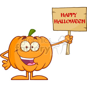 Royalty Free RF Clipart Illustration Funny Halloween Pumpkin Cartoon Mascot Character Holding A Wooden Board With Text