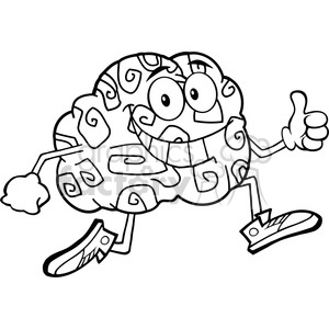 8801 Royalty Free RF Clipart Illustration Black And White Brain Cartoon Character Jogging And Giving A Thumb Up Vector Illustration Isolated On White