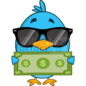 8841 Royalty Free RF Clipart Illustration Cute Blue Bird With Sunglasses Cartoon Character Showing A Dollar Bill Vector Illustration Isolated On White