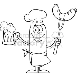 8443 Royalty Free RF Clipart Illustration Black And White Happy Chef Sausage Cartoon Character Holding A Beer And Weenie On A Fork Vector Illustration Isolated On White clipart. Commercial use image # 396424