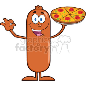 8480 Royalty Free RF Clipart Illustration Funny Sausage Cartoon Character Holding A Pizza Vector Illustration Isolated On White clipart. Commercial use image # 396452