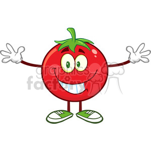 8400 Royalty Free RF Clipart Illustration Tomato Cartoon Mascot Character With Open Arms For A Hug Vector Illustration Isolated On White clipart. Royalty-free image # 396468