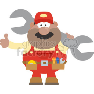8550 Royalty Free RF Clipart Illustration African American Mechanic Cartoon Character Holding Huge Wrench And Giving A Thumb Up Flat Syle Vector Illustration Isolated On White clipart. Royalty-free image # 396484