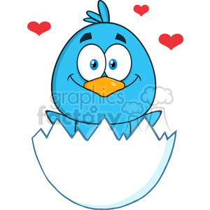 8810 Royalty Free RF Clipart Illustration Happy Blue Bird Cartoon Character Hatching From An Egg With Hearts Vector Illustration Isolated On White clipart. Royalty-free image # 396486