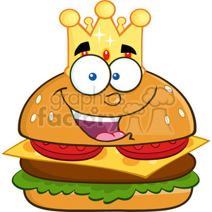 8520 Royalty Free RF Clipart Illustration Happy King Hamburger Cartoon Character With Gold Crown Vector Illustration Isolated On White clipart. Royalty-free image # 396518