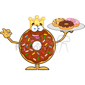 8703 Royalty Free RF Clipart Illustration King Chocolate Donut Cartoon Character Serving Donuts Vector Illustration Isolated On White clipart. Royalty-free image # 396534