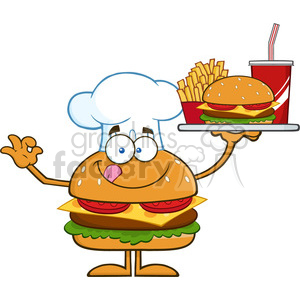 8568 Royalty Free RF Clipart Illustration Chef Hamburger Cartoon Character Holding A Platter With Burger, French Fries And A Soda Vector Illustration Isolated On White clipart. Commercial use image # 396572
