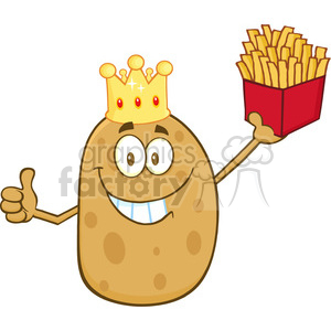 8789 Royalty Free RF Clipart Illustration Smiling King Potato Cartoon Character Holding Fries And Giving A Thumb Up Vector Illustration Isolated On White clipart. Royalty-free image # 396592