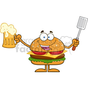 8577 Royalty Free RF Clipart Illustration Happy Hamburger Cartoon Character Holding A Beer And Bbq Slotted Spatula Vector Illustration Isolated On White clipart. Royalty-free image # 396596