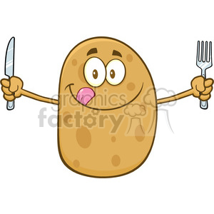 8783 Royalty Free RF Clipart Illustration Hungry Potato Cartoon Character With Knife And Fork Vector Illustration Isolated On White