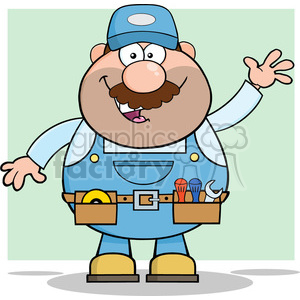 8524 Royalty Free RF Clipart Illustration Smiling Mechanic Cartoon Character Waving For Greeting Vector Illustration With Background clipart. Royalty-free image # 396636