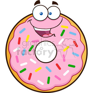 8665 Royalty Free RF Clipart Illustration Happy Donut Cartoon Character With Sprinkles Vector Illustration Isolated On White