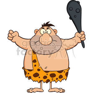 8425 Royalty Free RF Clipart Illustration Angry Caveman Cartoon Character Holding A Club Vector Illustration Isolated On White clipart. Commercial use image # 396690