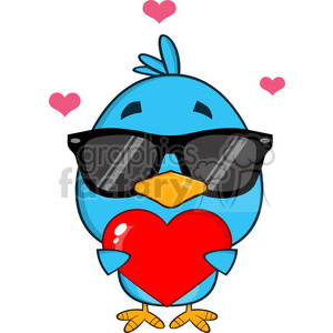 8822 Royalty Free RF Clipart Illustration Cute Blue Bird With Sunglasses Cartoon Character Holding A Love Heart Vector Illustration Isolated On White clipart. Royalty-free image # 396726