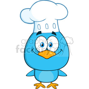 8817 Royalty Free RF Clipart Illustration Chef Blue Bird Cartoon Character Vector Illustration Isolated On White clipart. Royalty-free image # 396730