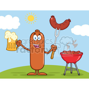 8470 Royalty Free RF Clipart Illustration Happy Sausage Cartoon Character Holding A Beer And Weenie Next To BBQ Vector Illustration Isolated On White clipart. Commercial use image # 396742