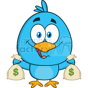 8834 Royalty Free RF Clipart Illustration Happy Blue Bird Cartoon Character Holding A Bags Of Money Vector Illustration Isolated On White clipart. Commercial use image # 396766