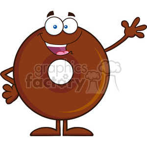 8706 Royalty Free RF Clipart Illustration Cute Chocolate Donut Cartoon Character Waving Vector Illustration Isolated On White clipart. Commercial use image # 396796
