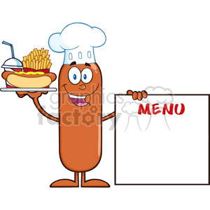 8496 Royalty Free RF Clipart Illustration Chef Sausage Cartoon Character Carrying A Hot Dog, French Fries And Cola Next To Menu Board Vector Illustration Isolated On White clipart. Royalty-free image # 396810