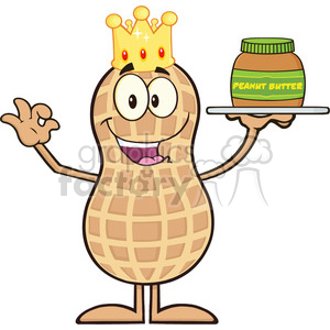8638 Royalty Free RF Clipart Illustration King Peanut Cartoon Character Holding A Jar Of Peanut Butter Vector Illustration Isolated On White clipart. Royalty-free image # 396840