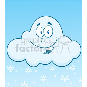 Royalty Free RF Clipart Illustration Smiling Cloud With Snowflakes Cartoon Mascot Character clipart. Commercial use image # 396880