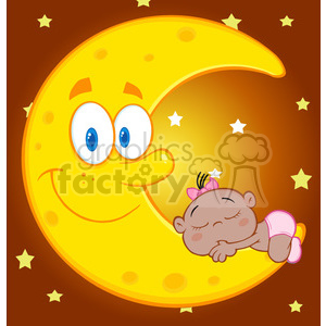 6996 Royalty Free RF Clipart Illustration Cute African American Baby Girl Sleeps On The Smiling Moon Cartoon Characters