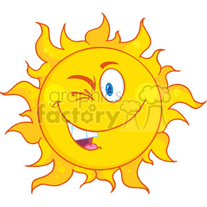Royalty Free RF Clipart Illustration Winked Sun Cartoon Mascot Character clipart. Royalty-free image # 396900