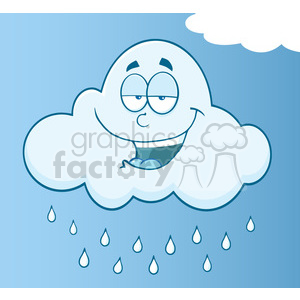 7023 Royalty Free RF Clipart Illustration Smiling Cloud Raining Cartoon Mascot Character clipart. Royalty-free image # 396920