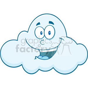 Royalty Free RF Clipart Illustration Smiling Cloud Cartoon Mascot Character clipart. Royalty-free image # 396930