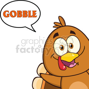 8978 Royalty Free RF Clipart Illustration Smiling Turkey Bird Cartoon Character Looking From A Corner With Speech Bubble And Text Vector Illustration Isolated On White clipart. Commercial use image # 396943