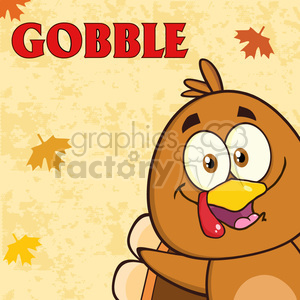 8979 Royalty Free RF Clipart Illustration Happy Turkey Bird Cartoon Character Looking From A Corner With Text Vector Illustration Greeting Card